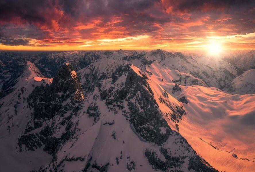 Panorama Allgäu Alpen Berge Winter Schnee verschneit Trettach Himmelschrofen Hochalpen Weihnachten Sonnenaufgang Sonnenuntergang Alpenglühen Oberstdorf Oberallgäu