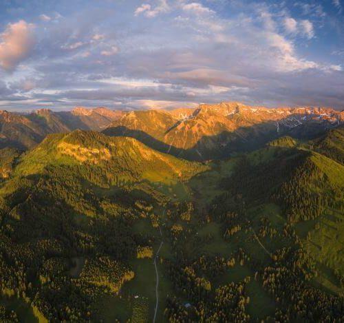 Panorama Allgäu Alpen Berge Hindelang Sommer Sonnenuntergang Sonnenaufgang Oberallgäu