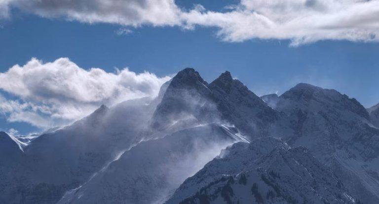 Panorama Allgäu Alpen Berge Winter Schnee verschneit Trettach Hochalpen Oberstdorf Oberallgäu Hochfrott Mädelegabel