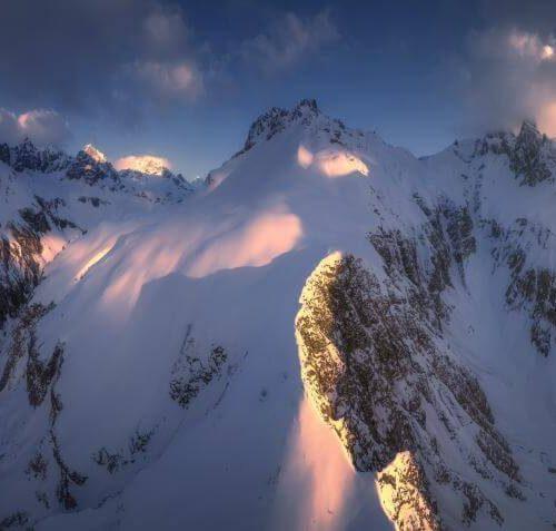 Panorama Allgäu Alpen Berge Winter Schnee verschneit Trettach Einödsbach Hochalpen Oberstdorf Oberallgäu Hochfrott Mädelegabel Sonnenuntergang