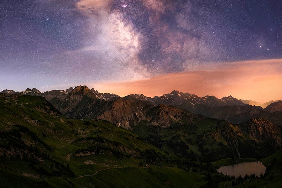 Landschaftsfotograf Jonathan Besler Milchstraße Nacht Oberstdorf Seealpsee