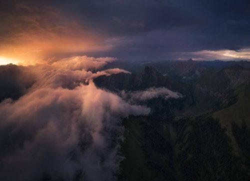 Landschaftsfotograf Landschaftsfotografie Fotografie Landschaft Natur Zeit Panorama Allgäu Alpen Berge Oberstdorf Sommer Alpenglühen Sonnenuntergang Gewitter Schaür Sturm Blitz Nebel Nebelmeer Oberallgäu