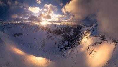 Landschaftsfotograf Landschaftsfotografie Fotografie Landschaft Natur Zeit Panorama Allgäu Alpen Berge Hinterstein Winter Schnee verschneit Schrecksee Bergsee Erster Schnee Oberallgäu