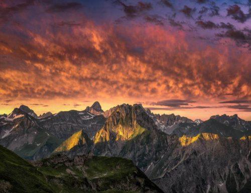 Landschaftsfotograf Landschaftsfotografie Fotografie Landschaft Natur Zeit Panorama Allgäu Alpen Berge Oberstdorf Sommer Alpenglühen Sonnenuntergang Seealpsee Höfats Nebelhorn Oberallgäu