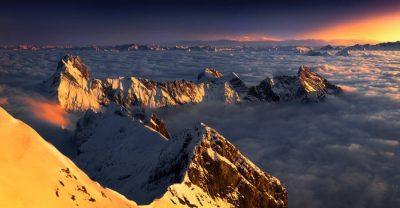Landschaftsfotograf Landschaftsfotografie Fotografie Landschaft Natur Zeit Panorama Schweiz Alpenglühen Sonnenuntergang Nebelmeer Bergspitzen Kurfürsten Nebel Licht Sonne Schnee Winter verschneit St Gallen