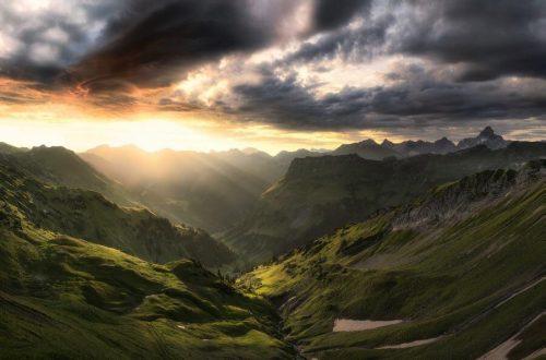 Landschaftsfotograf Landschaftsfotografie Fotografie Landschaft Natur Zeit Panorama Allgäu Alpen Berge Hinterstein Sommer Sonnenaufgang Nebelhorn Alpenglühen Gewitter Oberallgäu